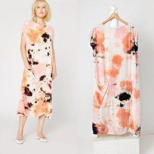 Lacausa Maya Silk Velvet Oversized Anthro Dress